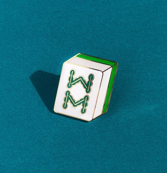 Crazy Rich Asians Enamel Pin - Eight of Bamboo Mahjong Block