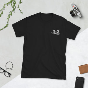 2 vs. 2 short-sleeved T-shirt embroidered for him and her SE b / w