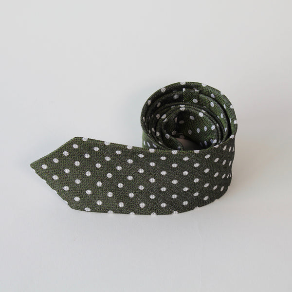 Green and white spotted silk tie by RJB Design