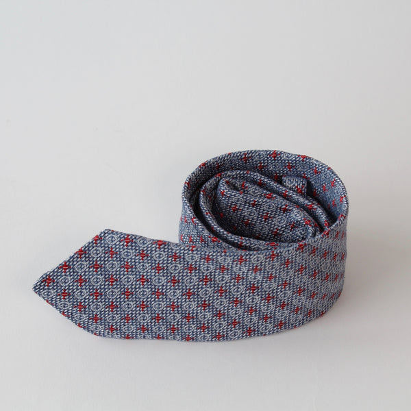Blue and red pattern tie by RJB Design