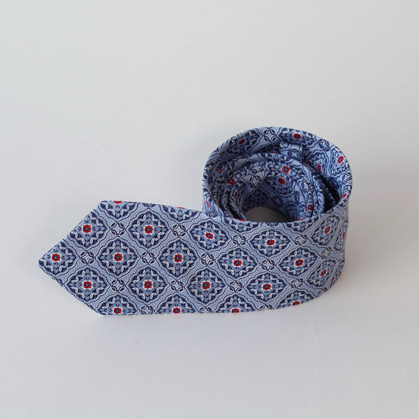 Blue pattern tie by RJB Design