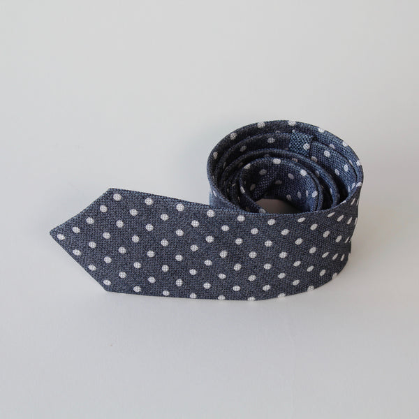 Blue and white spotted silk tie by RJB Design