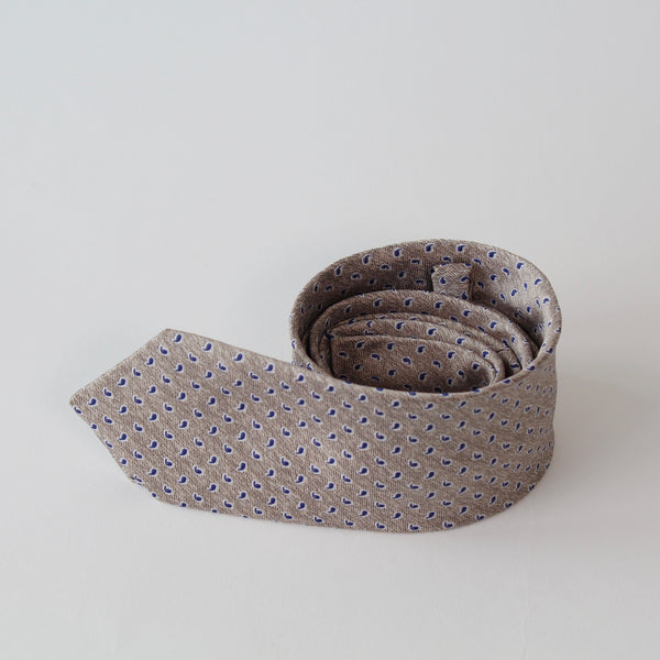 Natural and blue small paisley pattern tie