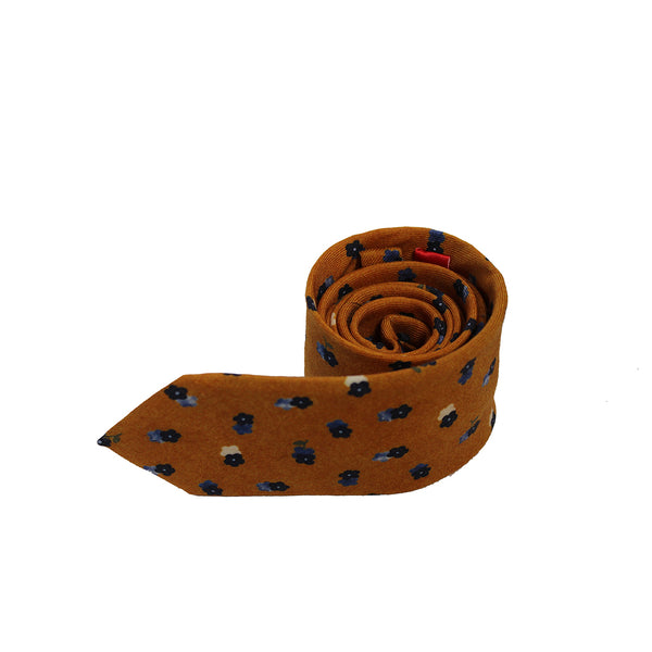 Orange & Blue Flower Silk Tie by Tino Cosma