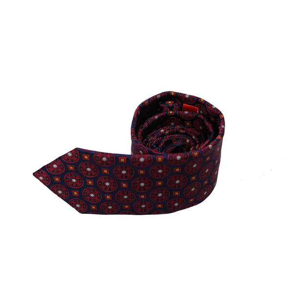 Navy & Red Silk Tie by Tino Cosma