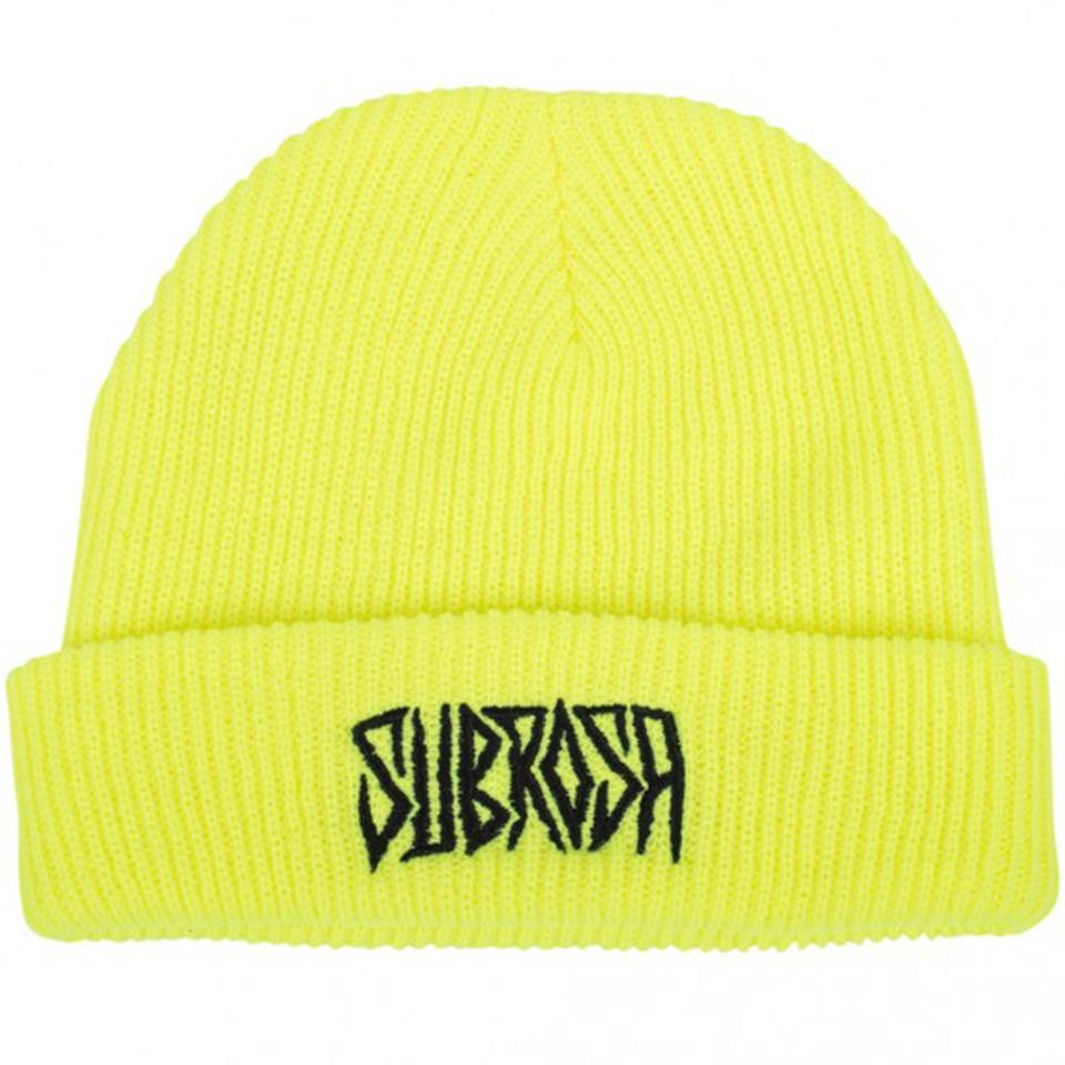 Image of Subrosa Carved Beanie - Neon Yellow With Black Stitching