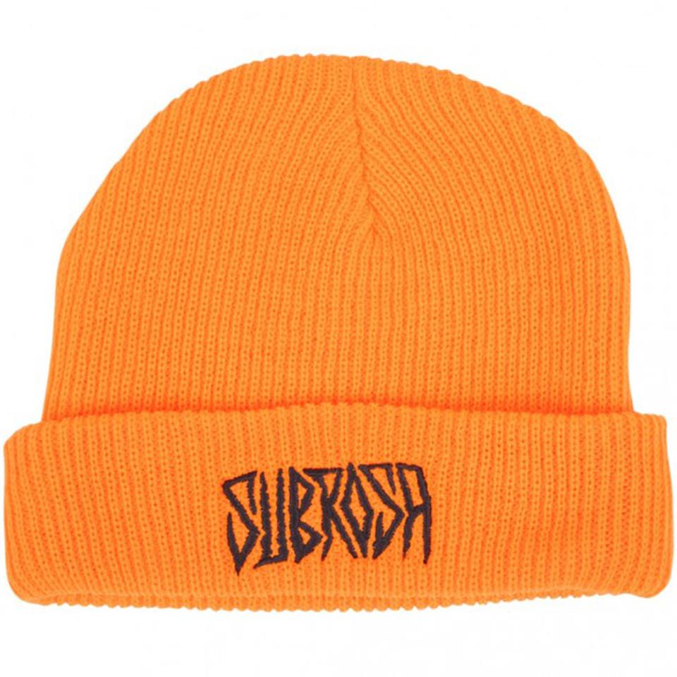 Image of Subrosa Carved Beanie - Neon Orange With Black Stitching