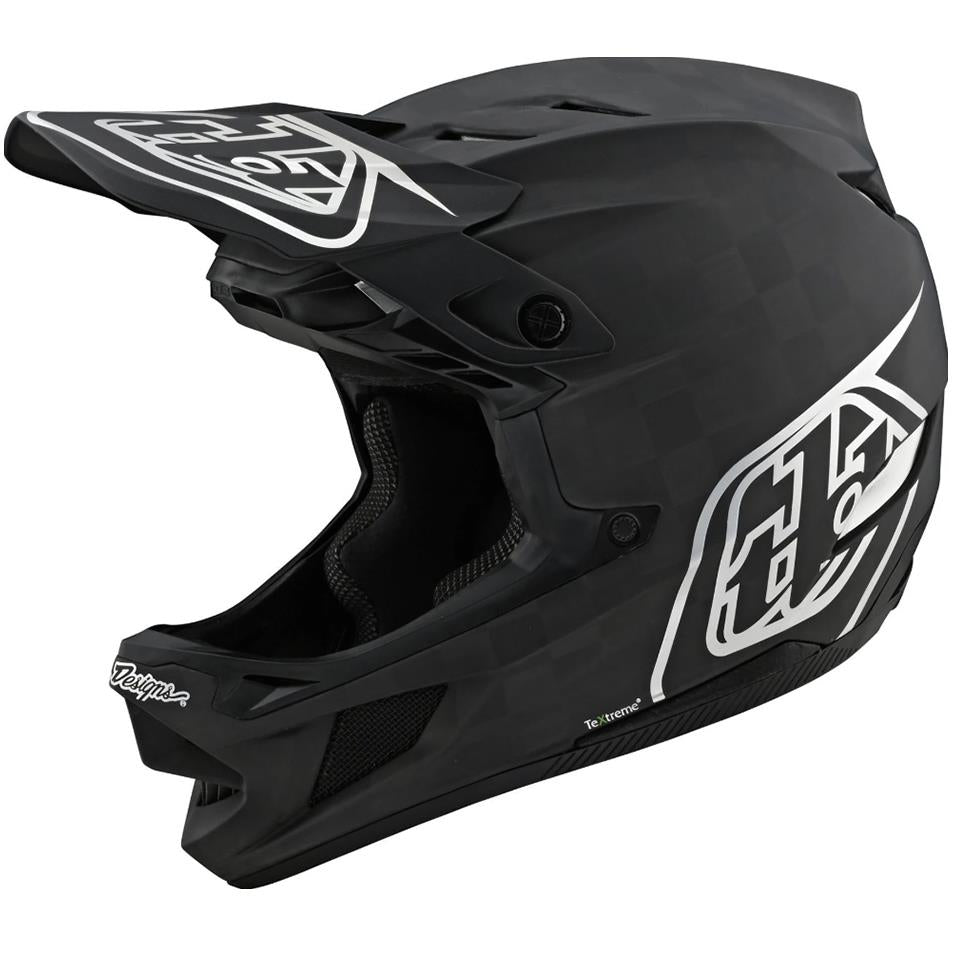 Troy Lee D4 Carbon Race Helmet - Stealth Black/Silver