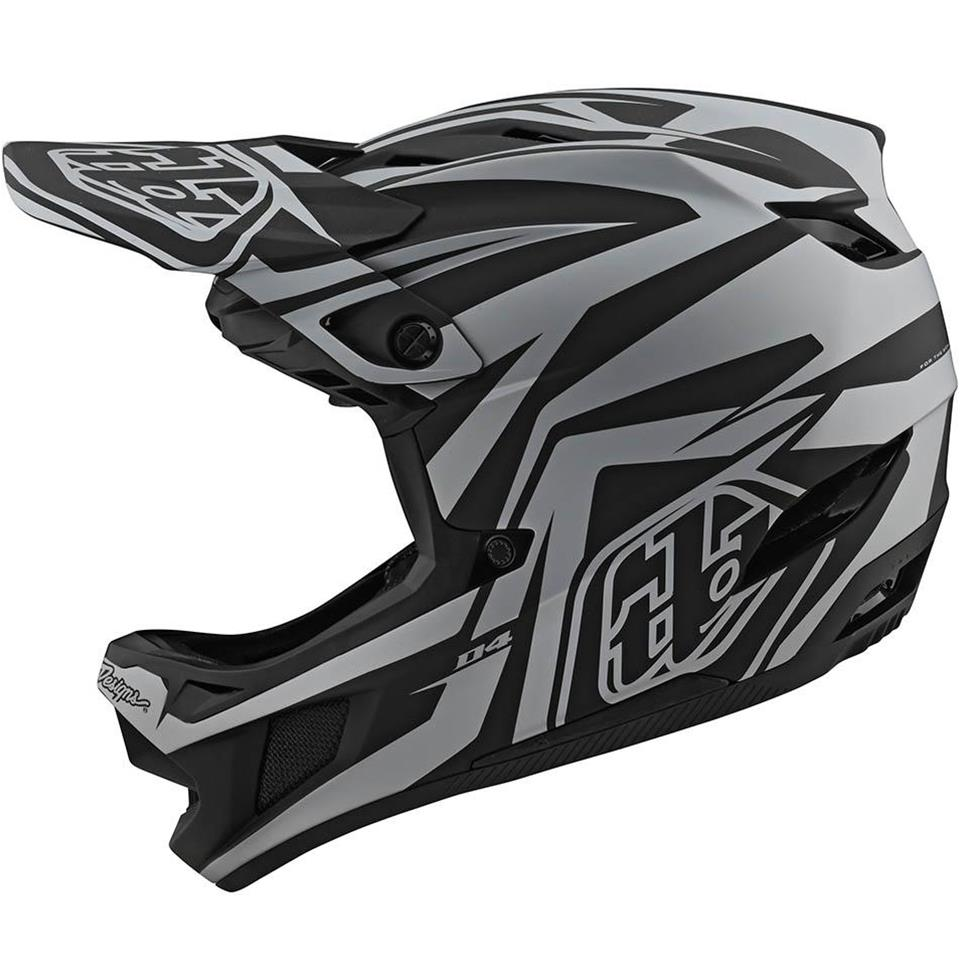 Troy Lee D4 Composite Race Helmet - Slash Black/Silver