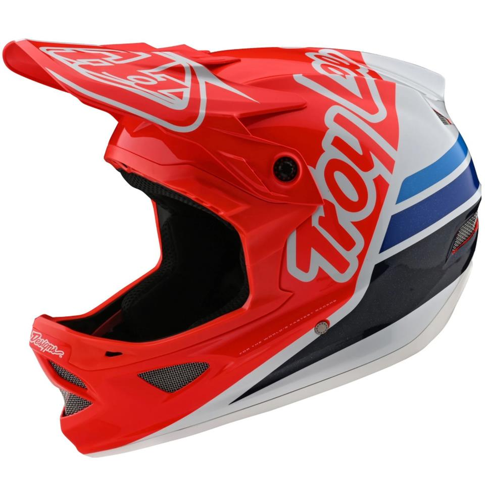 Troy Lee D3 Fiberlite Race Helmet - Silhouette Red/White