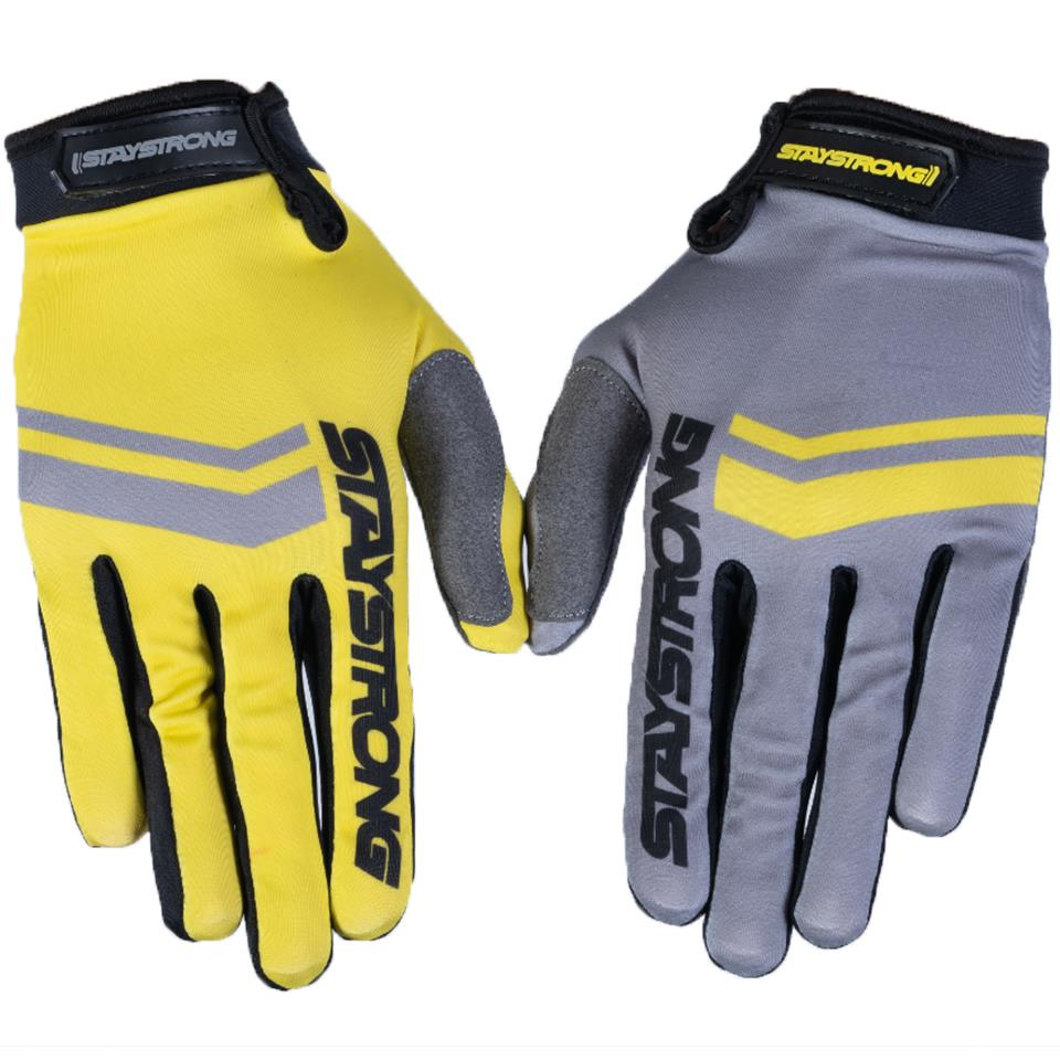 Stay Strong Opposite Youth Race Gloves - Grey/Yellow