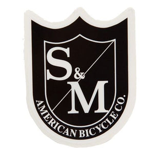 S&M Small Shield Sticker Black/White