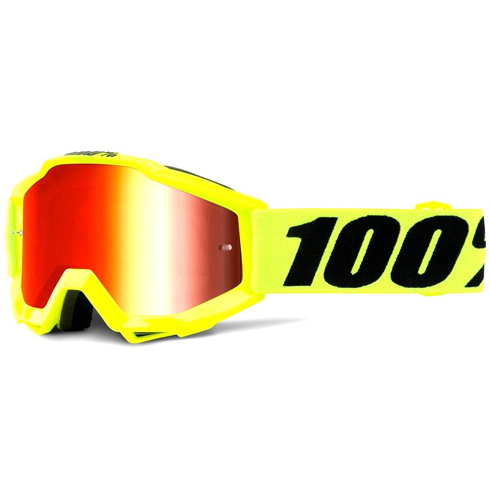 Image of 100% Accuri Race Goggle - Fluo Yellow/Red Mirror Lens