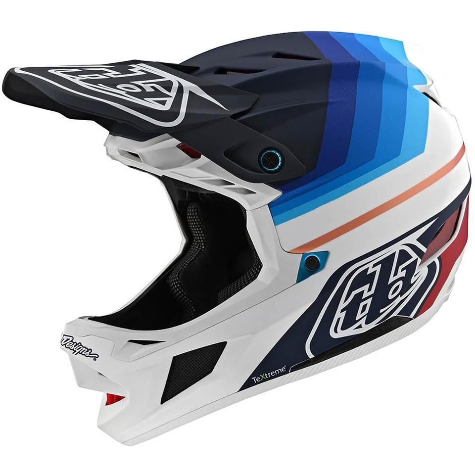 Troy Lee D4 Carbon Race Helmet - Mirage Navy/White
