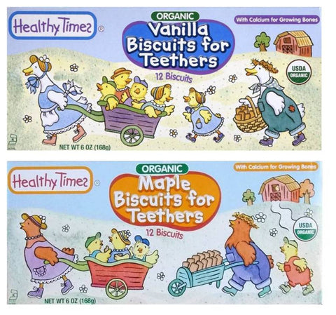 Healthy Times Organic Biscuits For Teethers With Cacium 2 Flavor Sampler Bundle: (1) Vanilla Teething Biscuits, And (1) Maple Teething Biscuits, 6 Oz. Ea.