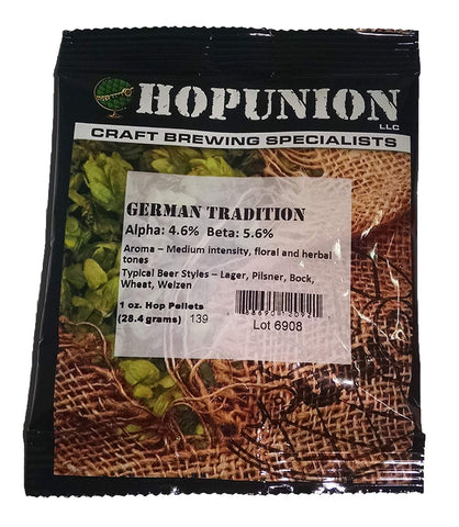 Hopunion Imported Hop Pellets For Home Brew Beer Making (German - Tradition)