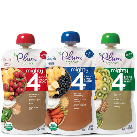Plum Organics Mighty 4, Organic Toddler Food, Variety Pack, 4 Ounce Pouches  (Packaging May Vary)