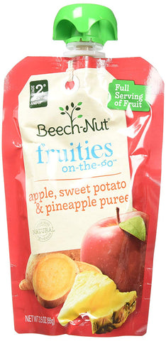 Beech-Nut Fruities On-The-Go, Baby Food, Stage 2, Apple, Sweet Potato & Pineapple, 3.5 Ounce Pouch