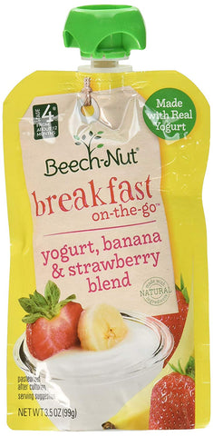 Beech-Nut Breakfast On-The-Go, Baby Food, Stage 4, Yogurt, Banana & Strawberry, 3.5 Ounce Pouch
