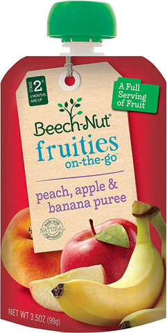 Beech-Nut Fruities On-The-Go, Baby Food, Stage 2, Peach, Apple & Banana, 3.5 Ounce Pouch