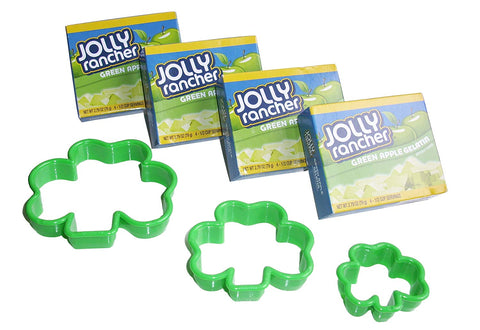 "Jolly Rancher ""Luck Of The Irish"" Shamrock Jello Kit: Includes 4 (2.79Oz) Green Apple Jello And 3 Shamrock Cutter Shapes (7-Pieces)"