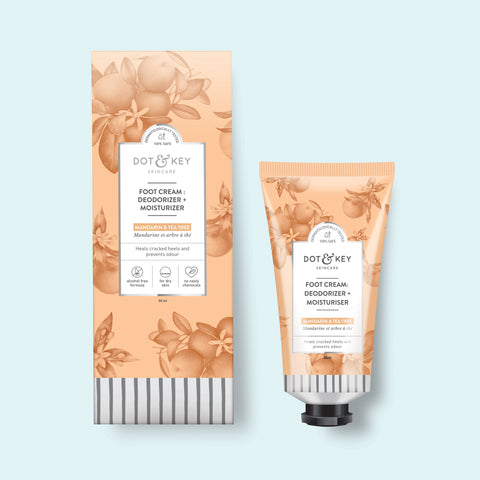 Dot & Key Foot Cream : Deodorizer + Moisturizer (Mandarin & Tea Tree), foot deodorant for dry cracked feet