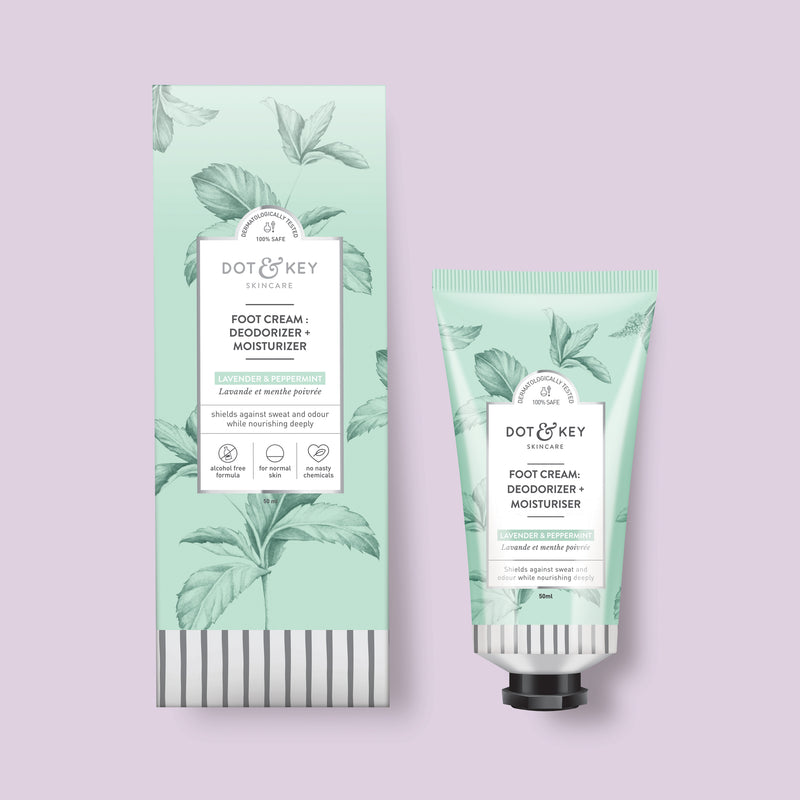 Dot & Key Foot Cream : Deodorizer + Moisturizer (Lavender & Peppermint), foot deodorant for dry cracked feet