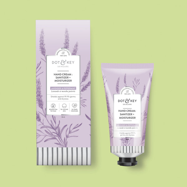 Dot & Key Hand Cream : Sanitizer + moisturizer (Lavender & Peppermint), alcohol free hand sanitizer cream