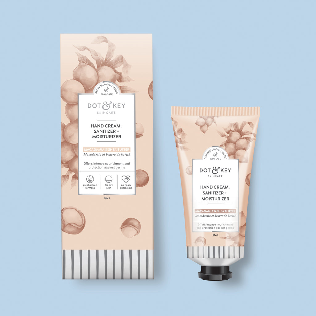 Dot & Key Hand Cream : Sanitizer + moisturizer (Macademia & Shea Butter), alcohol free hand sanitizer cream