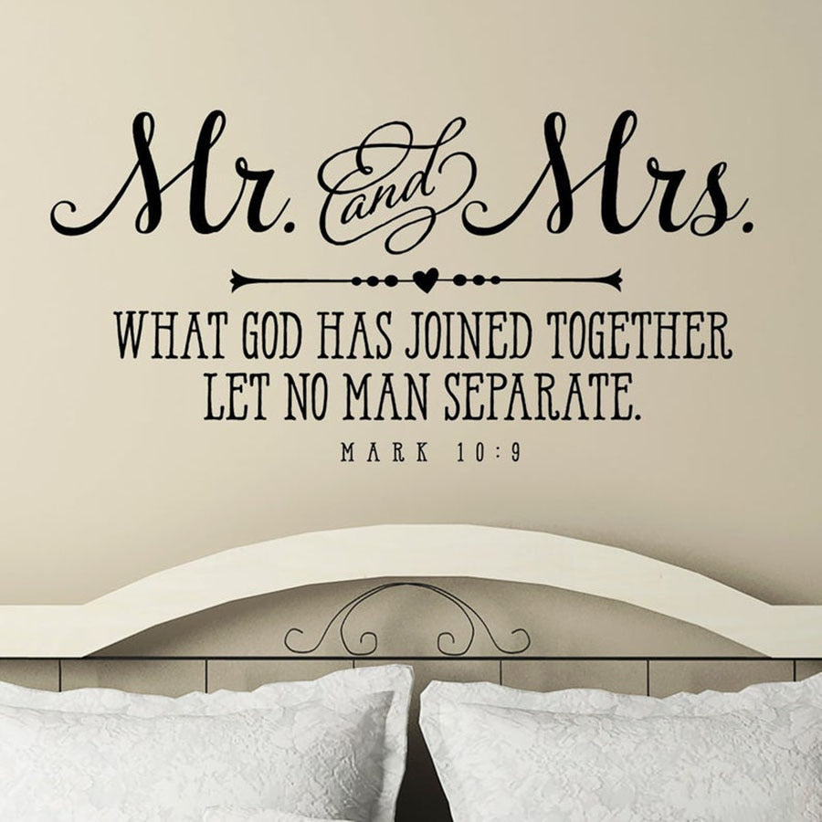 Mr. and Mrs. Wall Decal Christian Quote Bible Verse About Love Couple Bedroom Home Decor Wedding Decals Vinyl Wall Sticker S886