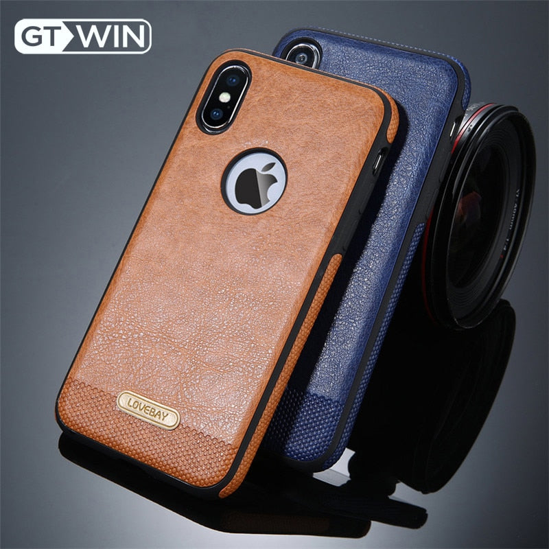 GTWIN For iPhone X Phone Case Luxury PU Leather Soft Silicone Back Cover Coque For iPhone 5 5S SE 6 6S 7 Plus 11 Pro XR XS Max