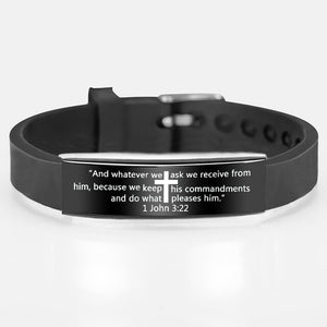 Fashion Black Cross Scripture Quote Bracelet Stainless Steel Silicone Bracelets For Men Christian Bible Jewelry