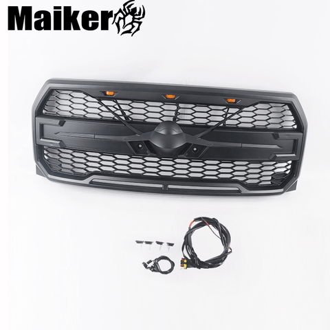 Abs Grille Honey Comb Front Bumper Grille For F150 Pick Up Grille With Light For F-150 Accessories