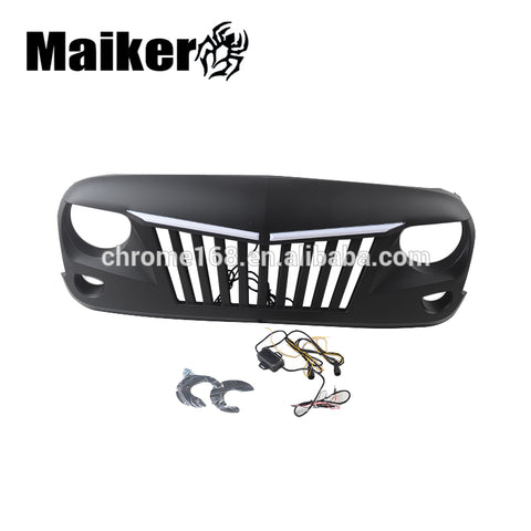 Front Grille For Jeep Wrangler Jk Accessories Front Grill With Light For Jk Hood Grille