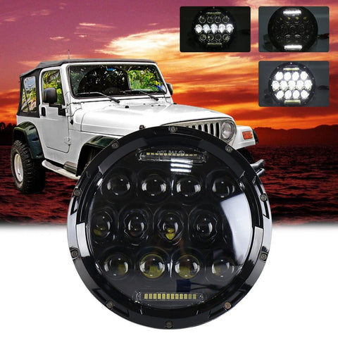 75W 7''   LED Headlight Waterproof  Lamp for Jeep  Wrangler JK led headlight