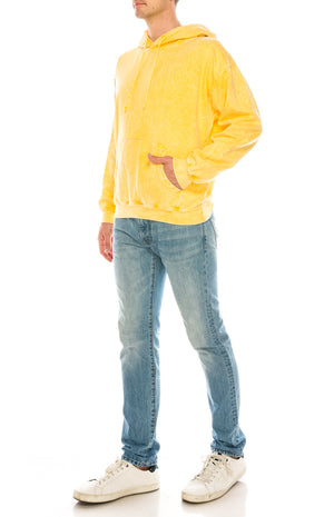 Tie Dye Hoodie - Washed Yellow