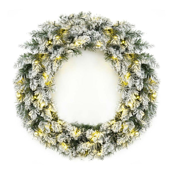 24 Inch Pre Lit Flocked Faux Pine Holiday Wreath with 50 White LED Lights