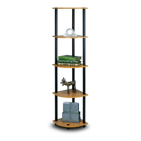 5-Tier Corner Display Shelf Bookcase in Light Cherry & Black