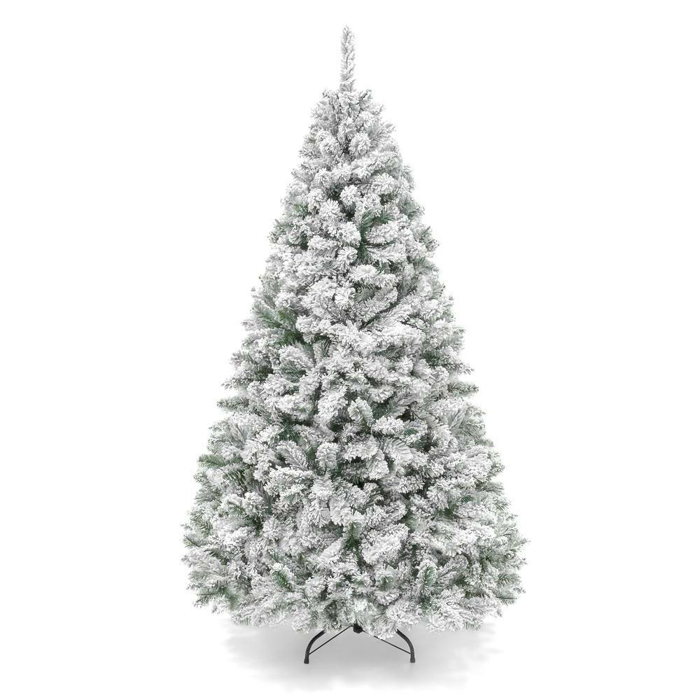 6 Foot Easy Set Up Snow Flocked Faux Pine Christmas Tree with Metal Stand