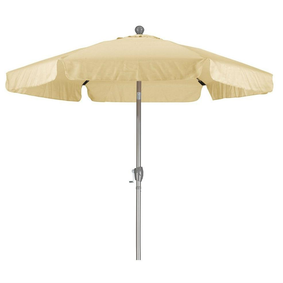 Beige 7.5 Foot Off-White Patio Umbrella with Push Button Tilt and Metal Pole