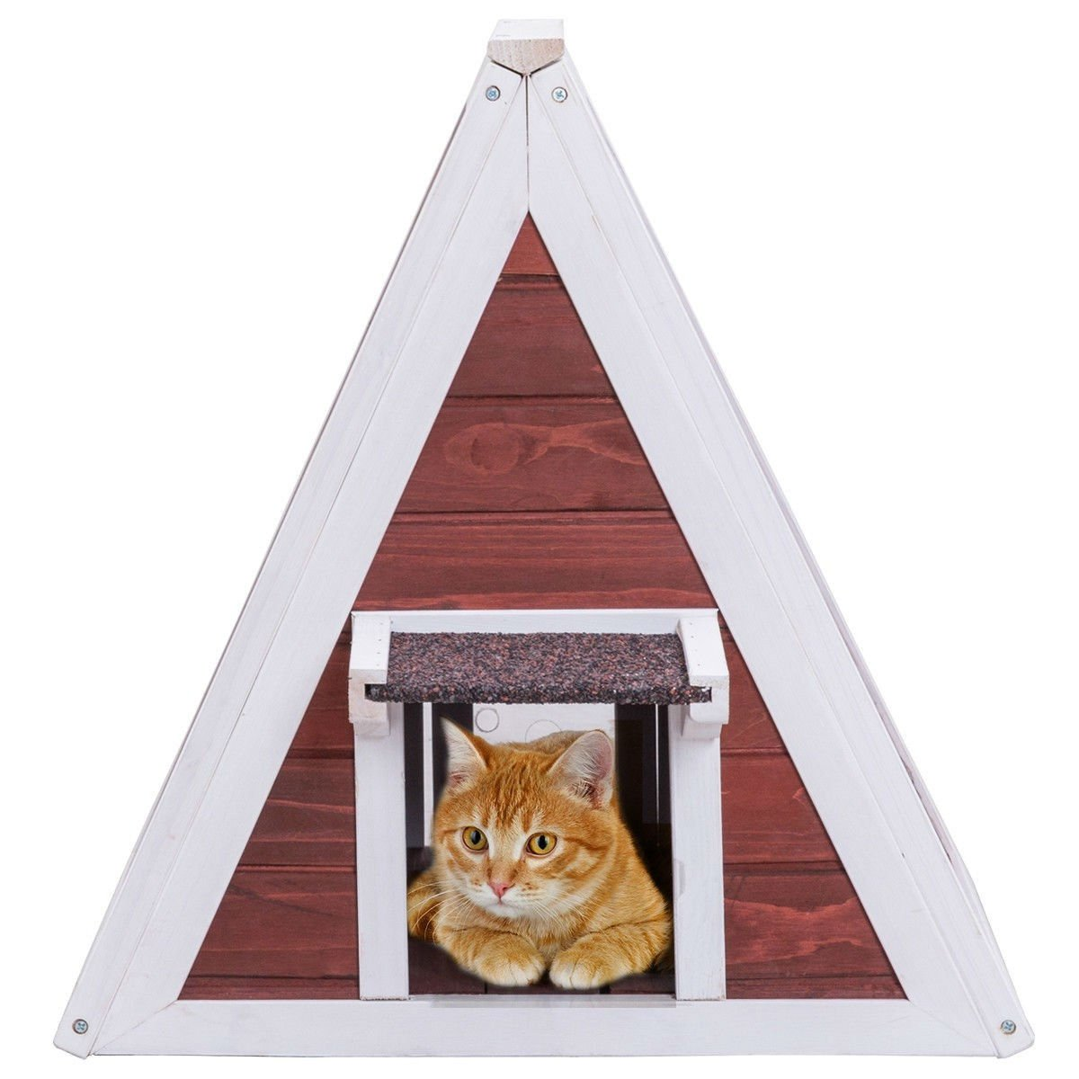 Weatherproof Red A-Frame Wooden Cat House Furniture Shelter with Eave