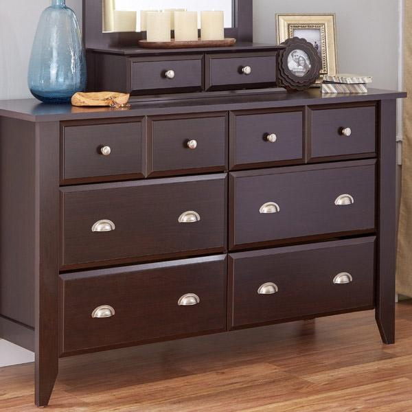 Dark Brown Wood 6-Drawer Wardrobe Dresser