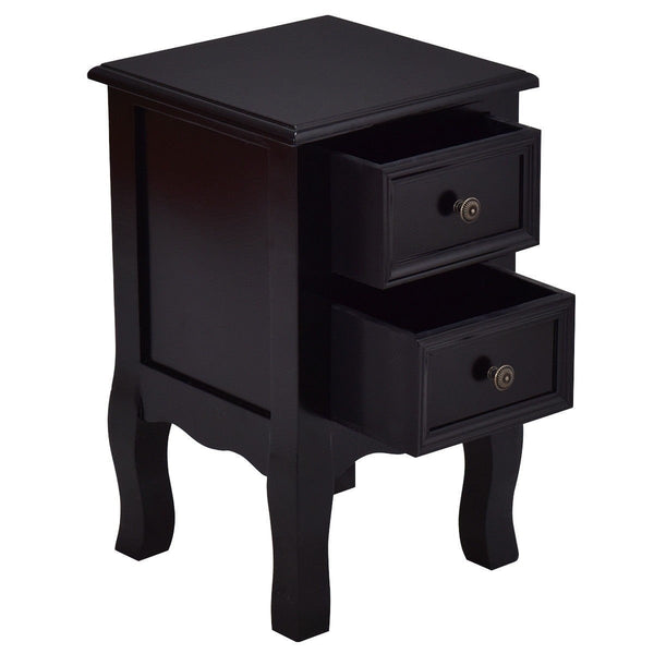 Black Wooden 2-Drawer Accent End Table Nightstand