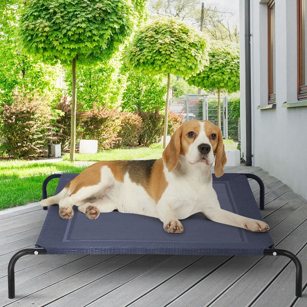 Large Navy Indoor/Outdoor Steel Frame Elevated Dog Cot Bed Mat