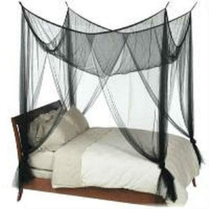 Black 4-Post Canopy Bed Mesh Netting Mosquito Net - Fits size Full Queen and King