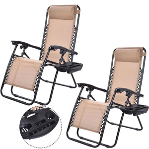 Set of 2 Beige Folding Outdoor Zero Gravity Lounge Chair Recliner