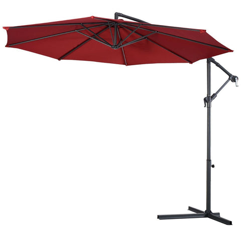 Burgundy 10-Ft Outdoor Steel Pole Tilt Crank Offset Patio Umbrella