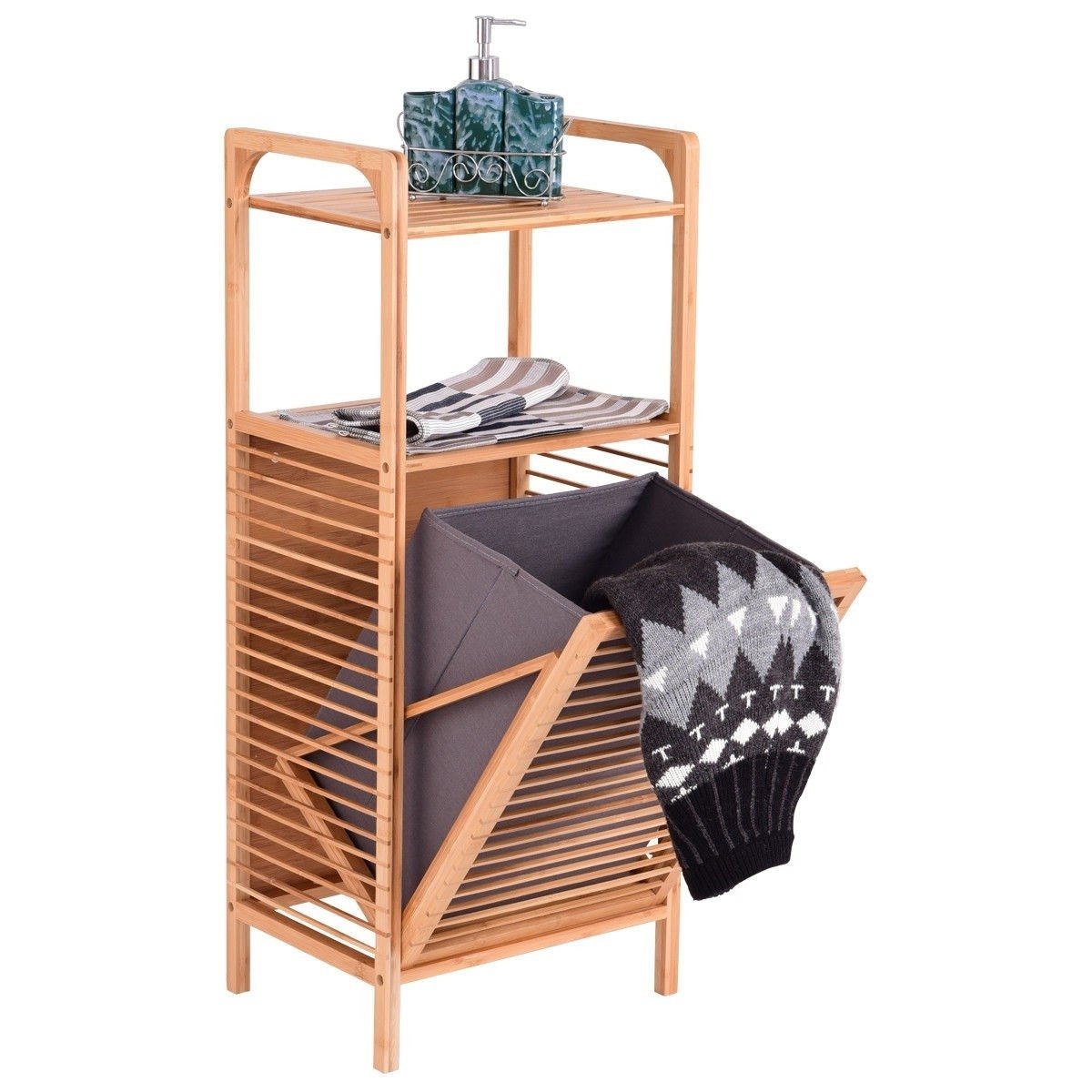 Bamboo 2-in-1 Laundry Hamper Side Table with 2 Shelves and Clothes Basket