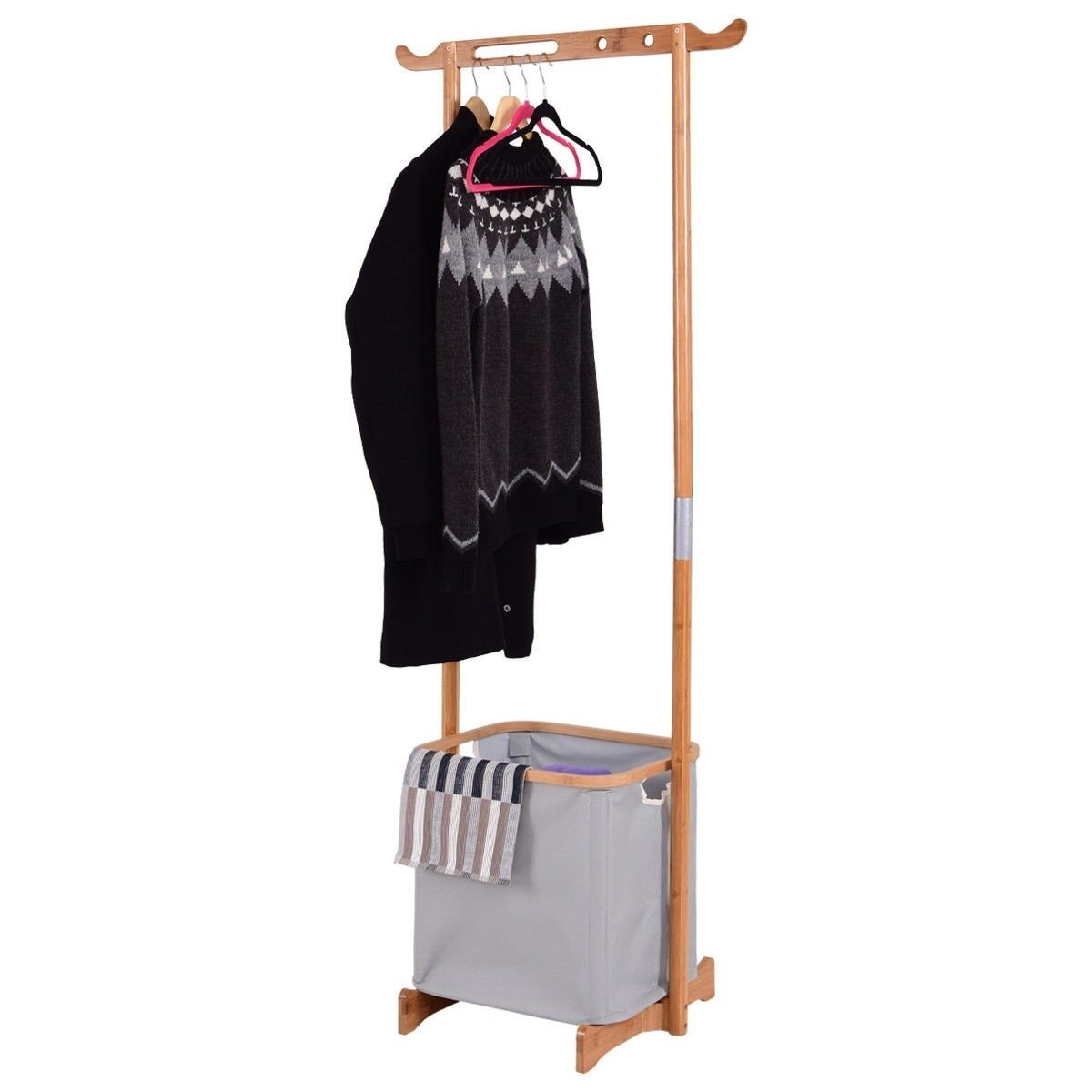 Bamboo Frame Laundry Hamper Basket with Garment Rack Clothes Hanger