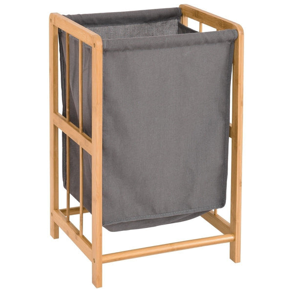 Bamboo Wood Frame Laundry Hamper with Cotton Blend Clothes Bag
